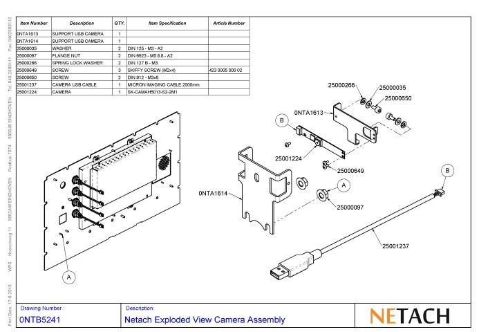 Netach Exploded View Camera Assembly