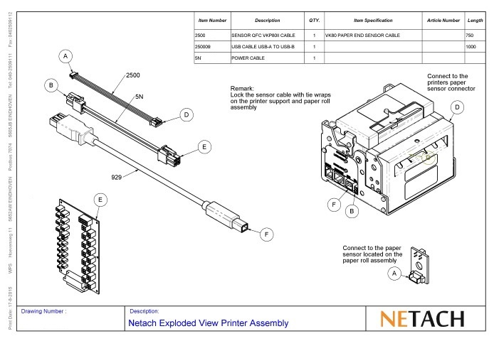 Netach Exploded View Printer Assembly
