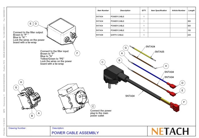 Netach Power Cable Assembly